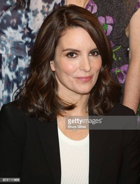 Tina Fey poses at the 'Mean Girls' broadway cast photo call and meet greet at The New 42nd Street Studios on February 22 2018 in New York City
