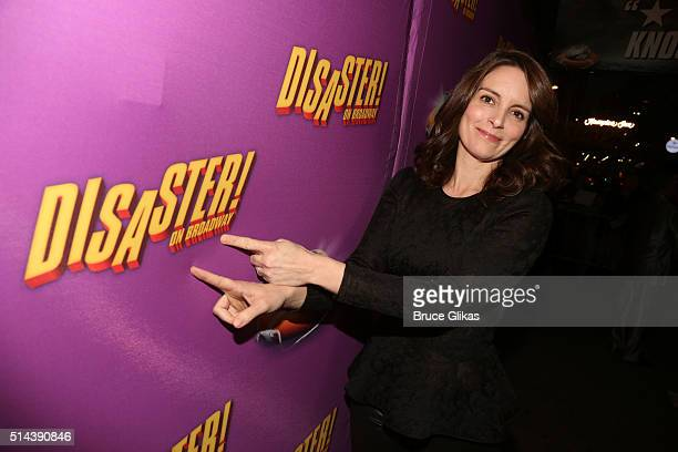 """Tina Fey poses at the Opening Night for the new musical """"Disaster!"""" on Broadway at The Nederlander Theatre on March 8, 2016 in New York City."""