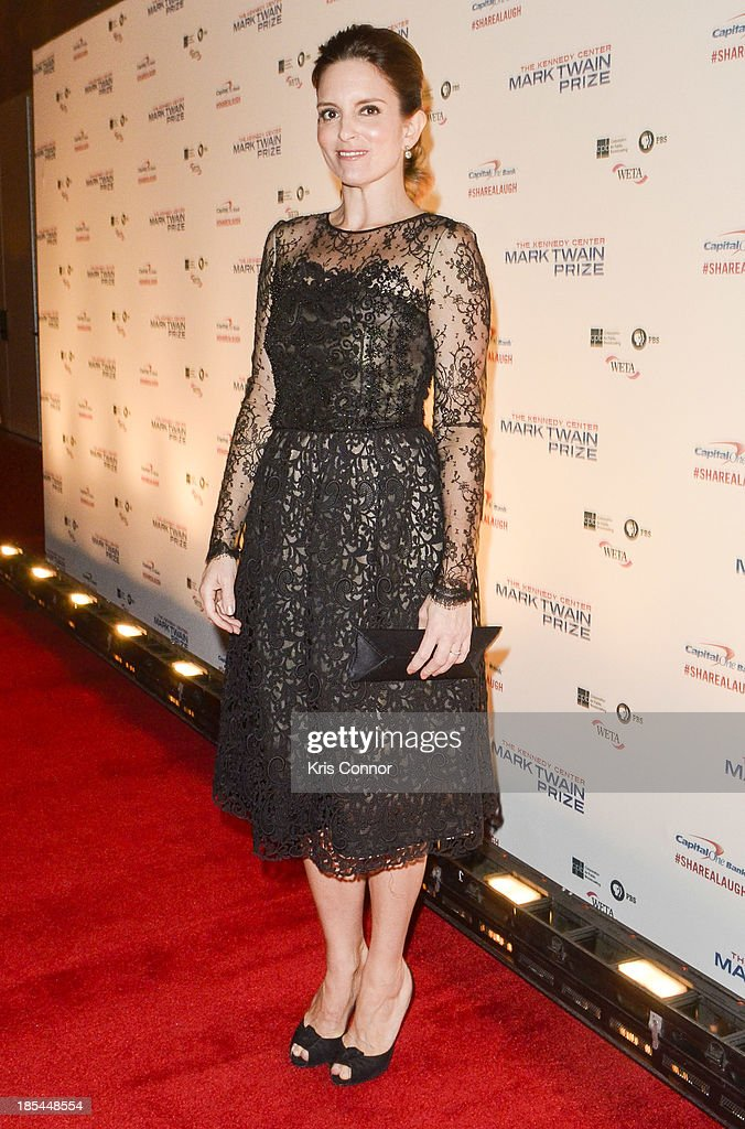 Tina Fey poses on the red carpet during The 16th Annual Mark Twain Prize For American Humor at John F. Kennedy Center for the Performing Arts on October 20, 2013 in Washington, DC.