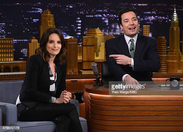 Tina Fey visits 'The Tonight Show with Jimmy Fallon' at Rockefeller Center on March 3 2014 in New York City