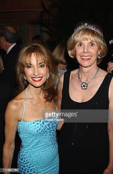 Tina Flaherty and Susan Lucci wearing Roberto Cavalli at Tails Tiaras Benefit for the Flaherty Comparative Oncology Laboratory of the Animal Medical...