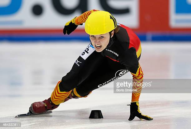 Tina Grassow of Germany competes in the women's 3000m relay semifinal during the ISU European Short Track Speed Skating Championships 2014 at...
