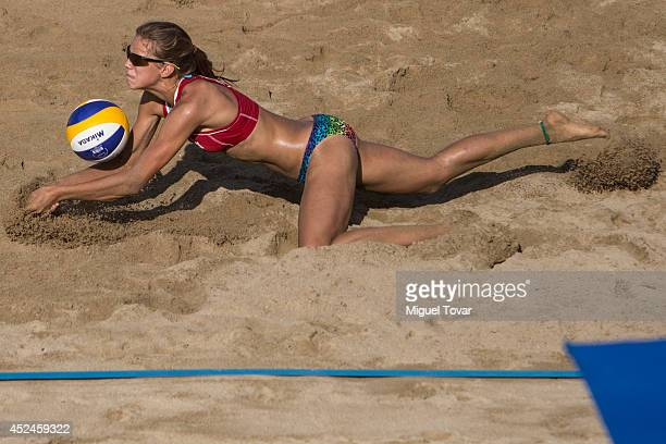Tina Graudina of Latvia dives for the ball during the FIVB Under 17 World Championship Acapulco 2014 on July 20 2014 in Acapulco Mexico