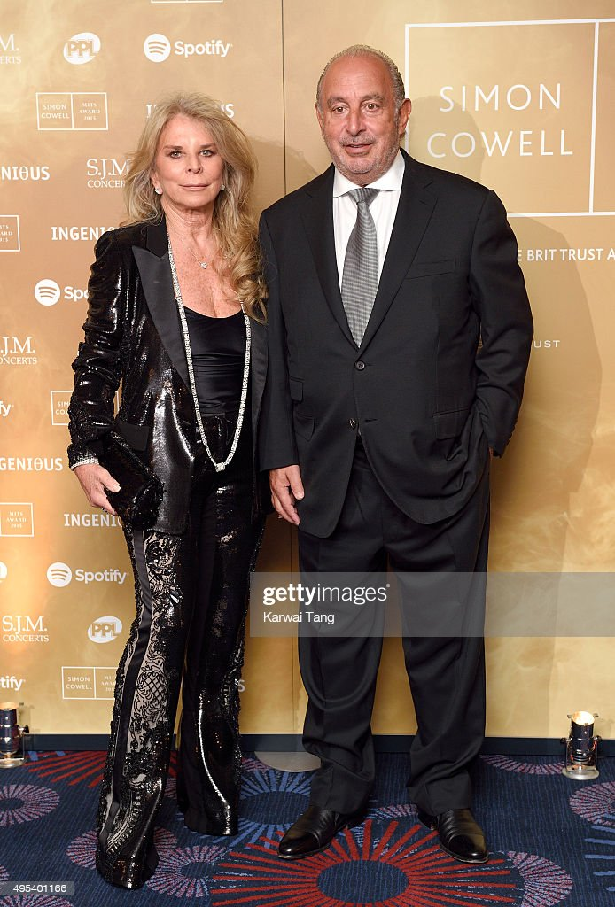 Tina Green and Philip Green attend the Music Industry Trusts Awards in aid of the Nordoff Robbins charity and BRIT Trust at The Grosvenor House Hotel on November 2, 2015 in London, England.