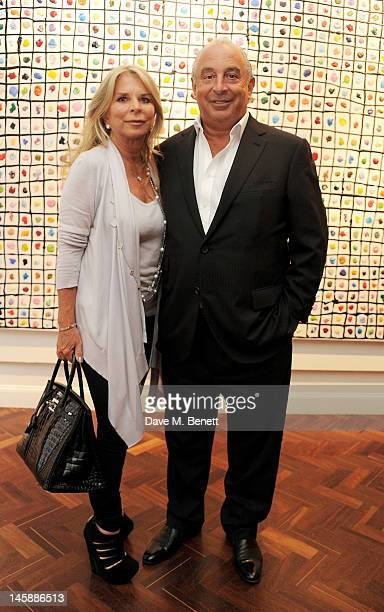 Tina Green and Sir Philip Green attend a private viewing of 'Colour: An Exhibition By Stasha', featuring works by Stasha Palos, at The Gallery In...