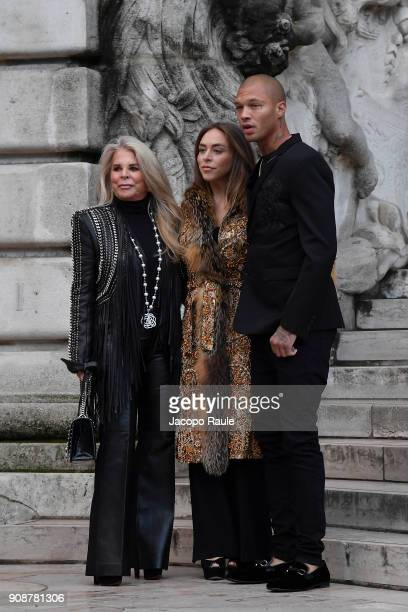 Tina Green Chloe Green and Jeremy Meeks are seen arriving at Ralph Russo show during Paris Fashion Week Menswear Fall Winter 2018/2019 on January 22...