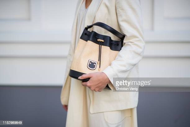 Tina Haase is seen wearing creme white Drykorn blazer and dress Furla bag on May 31 2019 in Berlin Germany