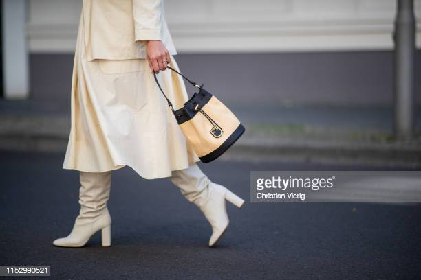 Tina Haase is seen wearing creme white Drykorn blazer and dress Zara boots Furla bag on May 31 2019 in Berlin Germany
