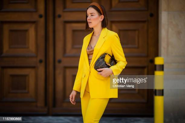 Tina Haase is seen wearing Fendi bag yellow Drykorn suit on May 31 2019 in Berlin Germany