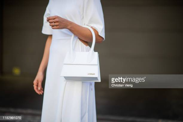Tina Haase is seen wearing white see by Chloe dress Jacquemus bag on May 31 2019 in Berlin Germany