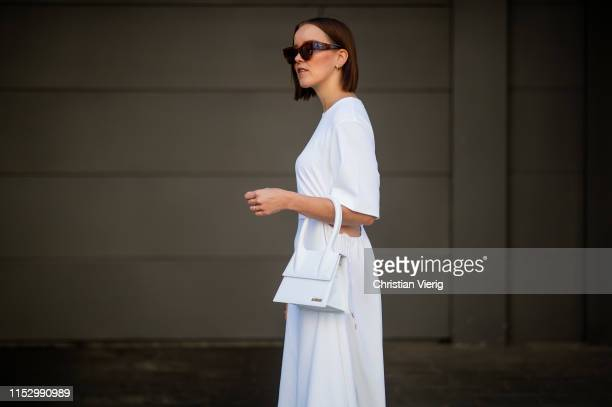 Tina Haase is seen wearing white see by Chloe dress Jacquemus bag Celine sunglasses on May 31 2019 in Berlin Germany