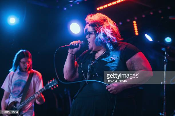 Tina Halladay of Sheer Mag performs at Saturn Birmingham on May 1 2018 in Birmingham Alabama