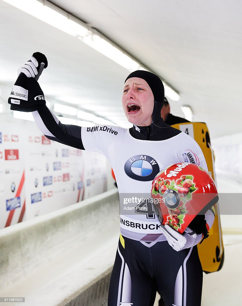 Tina Hermann of Germany celebrates victory in the Women's Skeleton on day 6 of the 2016 IBSF World Championships at Olympiabobbahn Igls on February 20, 2016 in Innsbruck, Austria.