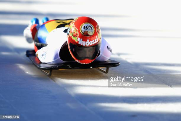 Tina Hermann of Germany competes in the Women's Skeleton during the BMW IBSF Bobsleigh and Skeleton World Cup at Utah Olympic Park on November 18...