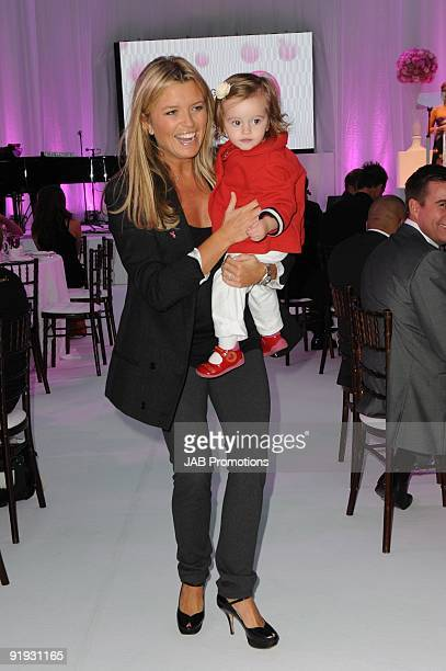 Tina Hobley and daughter attend the Samsung Pink Ribbon Breast Awareness Day at Westfield on October 15 2009 in London England