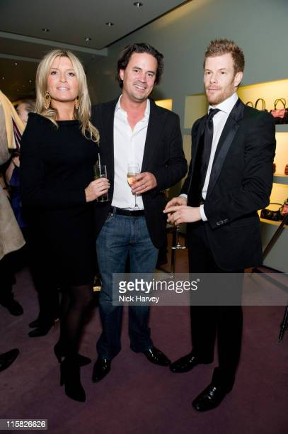 Tina Hobley Oli Wheeler and Tom Aikens attend the Prada Christmas Cocktail Party at the Prada Store Bond Street on December 13 2007 in London England