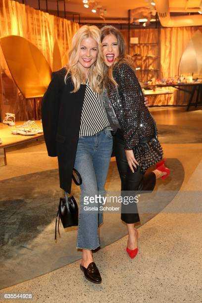 Tina Kaiser and Cathy Hummels wearing an outfit by KONEN during the KONEN Urban Summer Show on February 15 2017 in Munich Germany