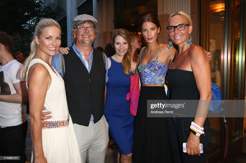 Tina Kaiser, Martin Krug, Viola Weiss, Julia Trainer and Natascha Ochsenknecht attend the Marcel Ostertag fashion show at Charles Hotel on July 24, 2013 in Munich, Germany.