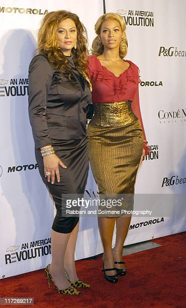 Tina Knowles and Beyonce during Conde Nast Media Group Presents Fashion Rocks 2004 Red Carpet at Radio City Music Hall in New York City New York...