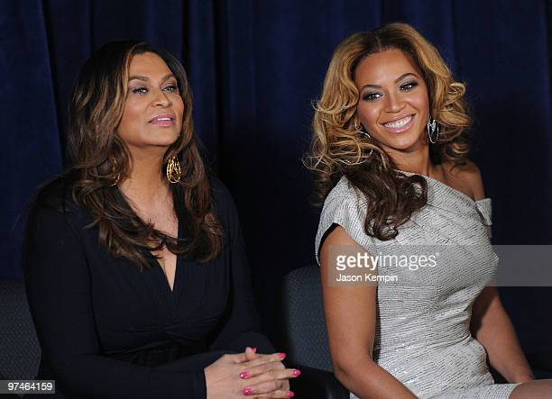 Tina Knowles and Beyonce Knowles attend the unveiling of the Beyoncé Cosmetology Center on March 5 2010 in New York City
