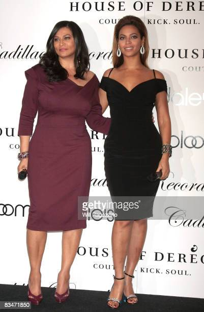 Tina Knowles and singer Beyonce Knowles promote the new House of Dereon collection inspired by the movie Cadillac Records at Bloomingdale's on 59th...