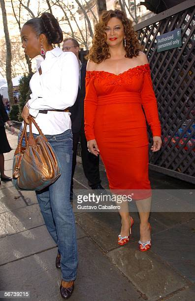 Tina Knowles and singer Kelly Rowland attend Olympus Fashion Week at Bryant Park February 3 2006 in New York City