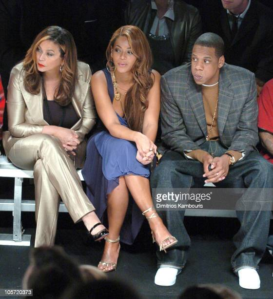 Tina Knowles Beyonce Knowles and JayZ during Olympus Fashion Week Fall 2005 Marc Jacobs Front Row and Backstage at Lexington Avenue Armory in New...