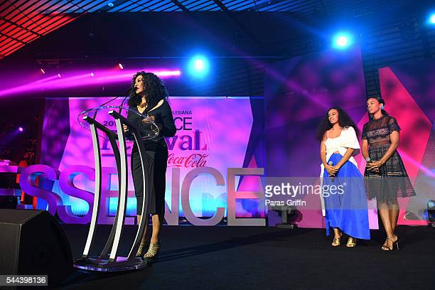 Tina Knowles Lawson accepts the Inspiring Leadership award on stage at the 2016 ESSENCE Festival Presented By CocaCola at Ernest N Morial Convention...