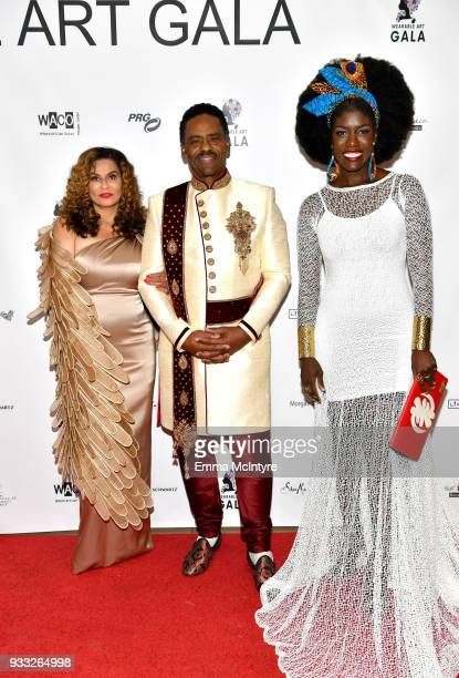 Tina Knowles Richard Lawson and Bozoma Saint John attend WACO Theater's 2nd Annual Wearable Art Gala on March 17 2018 in Los Angeles California