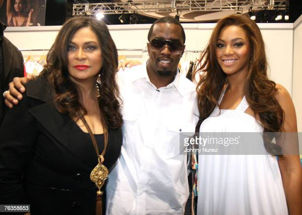 Tina Knowles Sean Diddy Combs and Beyonce Knowles attend the MAGIC Marketplace Day 1 on August 27 2007 in Las Vegas Nevada