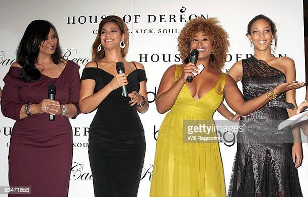 Tina Knowles singer Beyonce Knowles television personality Tanika Ray and a model promote the new House of Dereon collection inspired Cadillac...
