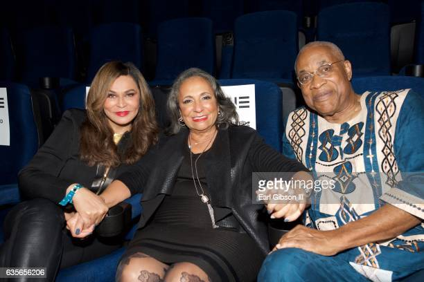 Tina KnowlesLawson CEO of TV One Cathy Hughes and Founder of the Pan African Film Festival Ayuko Babu pose for a photo at the screening of Media at...