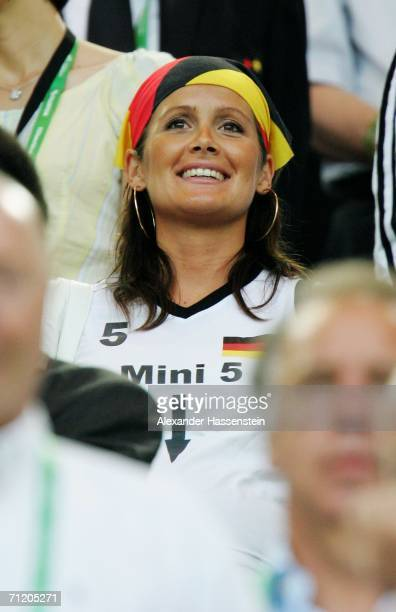 Tina Krueger the girlfriend from the German defender Sebastian Kehl looks on during the FIFA World Cup Germany 2006 Group A match between Germany and...