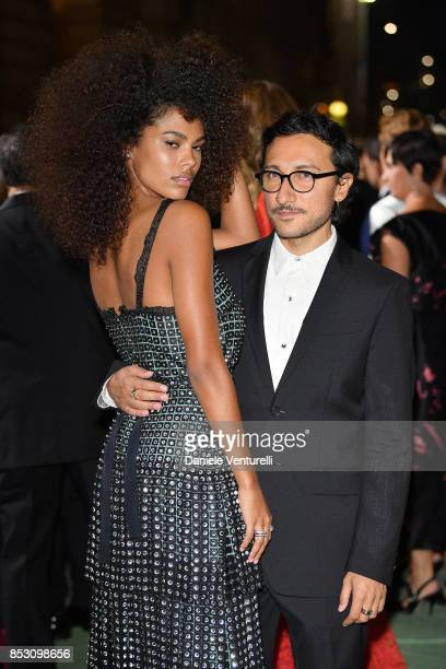 Tina Kunakey and Marco De Vincenzo and attends the Green Carpet Fashion Awards Italia 2017 during Milan Fashion Week Spring/Summer 2018 on September...