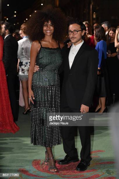 Tina Kunakey and Marco De Vincenzo attend the Green Carpet Fashion Awards Italia 2017 during Milan Fashion Week Spring/Summer 2018 on September 24...
