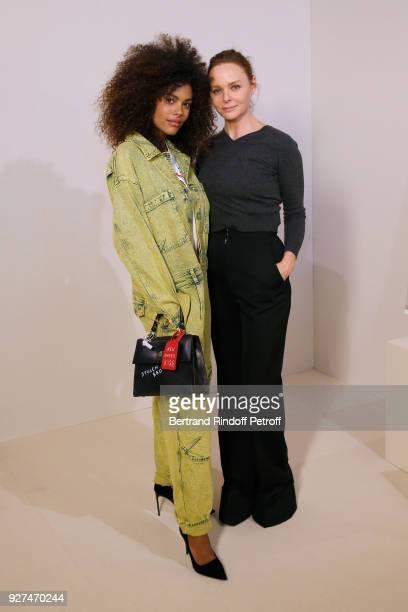 Tina Kunakey and Stylist Stella McCartney pose after the Stella McCartney show as part of the Paris Fashion Week Womenswear Fall/Winter 2018/2019 on...
