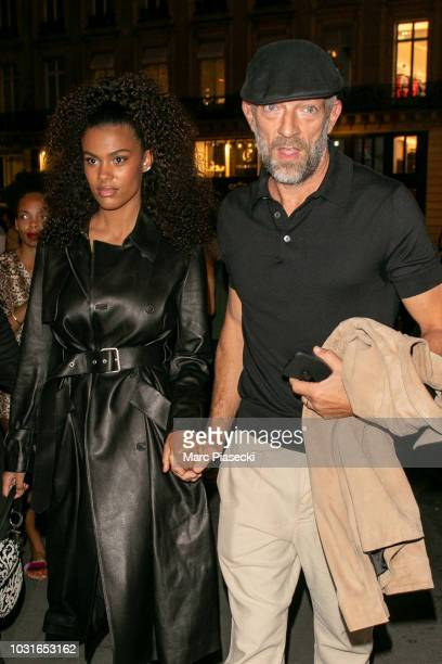 Tina Kunakey and Vincent Cassel are seen arriving at the Longchamp 70th Anniversary Celebration at Opera Garnier on September 11 2018 in Paris France