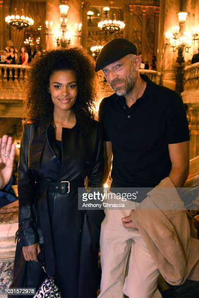 Tina Kunakey and Vincent Cassel attend Longchamp 70th Anniversary Celebration at Opera Garnier on September 11 2018 in Paris France