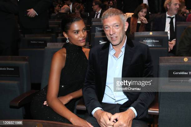 Tina Kunakey and Vincent Cassel attend the Cesar Film Awards 2020 Ceremony at Salle Pleyel In Paris on February 28, 2020 in Paris, France.