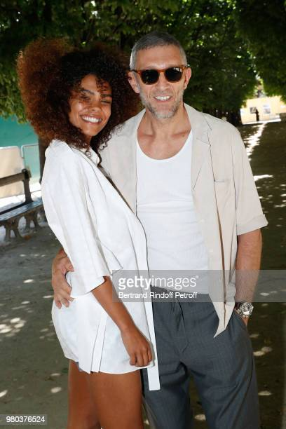 Tina Kunakey and Vincent Cassel attend the Louis Vuitton Menswear Spring/Summer 2019 show as part of Paris Fashion Week on June 21 2018 in Paris...