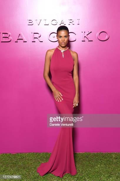Tina Kunakey attends Bulgari Barocco on September 14, 2020 in Rome, Italy.