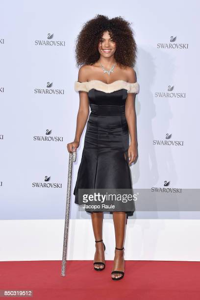 Tina Kunakey attends Swarovski Crystal Wonderland Party on September 20 2017 in Milan Italy