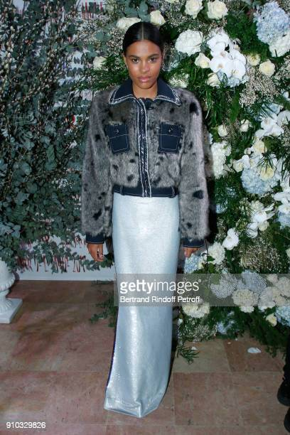 Tina Kunakey attends the 16th Sidaction as part of Paris Fashion Week on January 25 2018 in Paris France