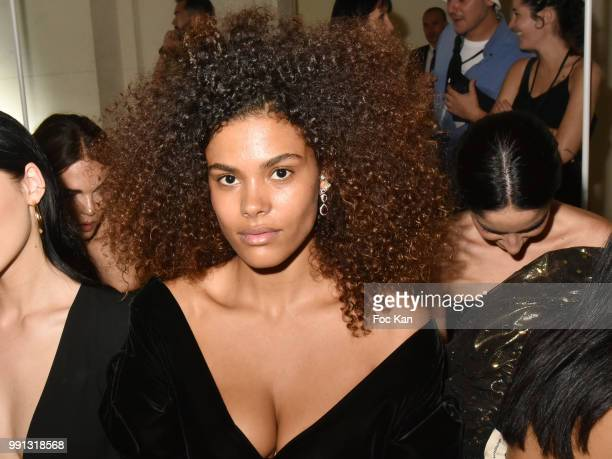 Tina Kunakey attends the Alexandre Vauthier Haute Couture Fall Winter 2018/2019 show as part of Paris Fashion Week on July 3 2018 in Paris France