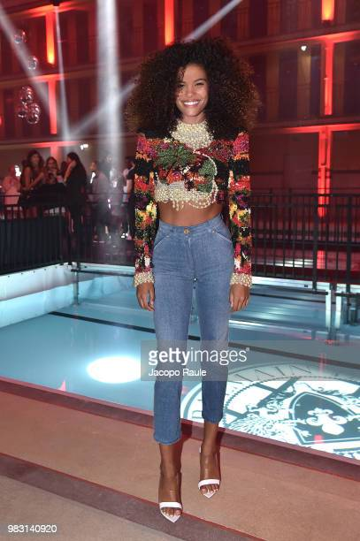 Tina Kunakey attends the Balmain after party as part of Paris Fashion Week on June 24 2018 in Paris France