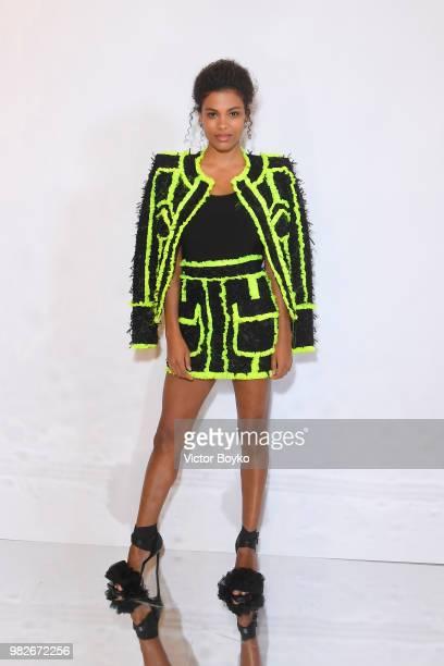 Tina Kunakey attends the Balmain Menswear Spring/Summer 2019 show as part of Paris Fashion Week on June 24 2018 in Paris France