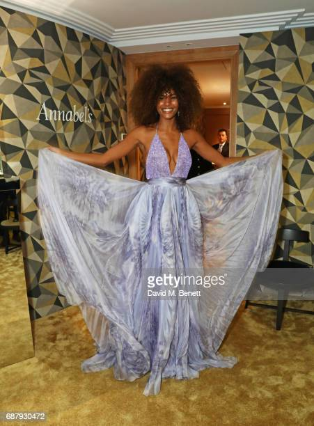 Tina Kunakey attends the Chopard and Annabel's Gentleman's Evening at the Hotel Martinez during the 70th Annual Cannes Film Festival on May 24 2017...