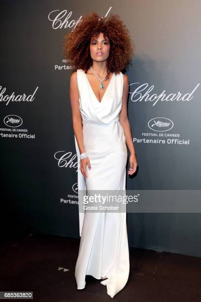 "Tina Kunakey attends the Chopard ""SPACE Party"" hosted by Chopard's copresident Caroline Scheufele and Rihanna at Port Canto on May 19 in Cannes France"