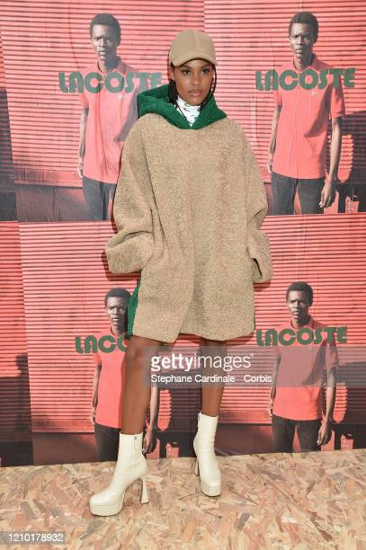 Tina Kunakey attends the Lacoste show as part of the Paris Fashion Week Womenswear Fall/Winter 2020/2021 on March 03 2020 in Paris France
