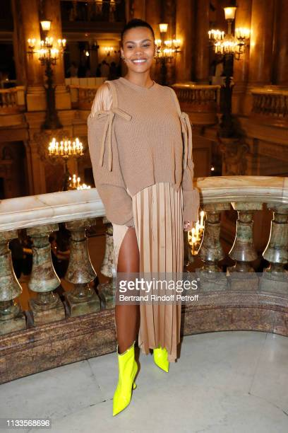 Tina Kunakey attends the Stella McCartney show as part of the Paris Fashion Week Womenswear Fall/Winter 2019/2020 on March 04 2019 in Paris France